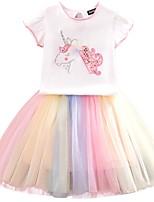 Недорогие -Дети Девочки Классический Однотонный Животное С короткими рукавами Платье Белый / Хлопок