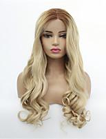 Недорогие -Синтетические кружевные передние парики Волнистый Стиль Средняя часть Лента спереди Парик Золотистый Среднее Коричневое / Отбеливающее Блондинка Искусственные волосы 8-26 дюймовый Жен. синтетический