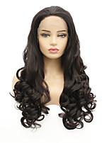 Недорогие -Синтетические кружевные передние парики Волнистый Стиль Свободная часть Лента спереди Парик Темно-коричневый Темно-коричневый Искусственные волосы 8-26 дюймовый Жен. синтетический Темно-коричневый