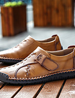 cheap -Men's Summer Casual Daily Oxfords Walking Shoes Nappa Leather Breathable Non-slipping Wear Proof Light Brown / Dark Brown / Black