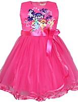 Недорогие -Дети Дети (1-4 лет) Девочки Активный Уличный стиль Мультипликация Кружева Без рукавов До колена Платье Розовый