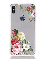 Недорогие -Кейс для Назначение Apple iPhone XS / iPhone XR / iPhone XS Max Защита от удара / Прозрачный / С узором Кейс на заднюю панель Цветы Мягкий ТПУ