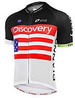 Недорогие -21Grams Discovery Флаги Муж. С короткими рукавами Велокофты - Черный / красный Велоспорт Джерси Верхняя часть Дышащий Влагоотводящие Быстровысыхающий Виды спорта Терилен Горные велосипеды Одежда