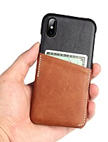 Недорогие -Кейс для Назначение Apple iPhone XS / iPhone XR / iPhone XS Max Бумажник для карт Кейс на заднюю панель Однотонный Настоящая кожа