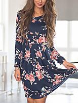 cheap -Women's A-Line Dress Knee Length Dress - Long Sleeve Print Patchwork Print Fall Casual Cotton Slim 2020 White Black Red Navy Blue S M L XL