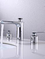 Недорогие -Ванная раковина кран - Широко распространенный Хром По центру Две ручки три отверстияBath Taps