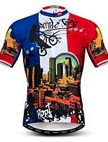 Недорогие -WEIMOSTAR Муж. С короткими рукавами Велокофты Красный + синий Велоспорт Спортивный костюм Джерси Верхняя часть Дышащий Виды спорта Полиэстер Эластан Терилен Горные велосипеды Шоссейные велосипеды
