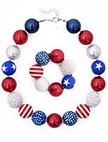Недорогие -Жен. Жемчужные ожерелья американский флаг Флаг Акрил Красный / синий 36+5 cm Ожерелье Бижутерия 1шт Назначение Подарок Повседневные фестиваль