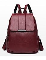 Недорогие -Водонепроницаемость PU Молнии рюкзак Сплошной цвет Повседневные Черный / Красный / Лиловый / Наступила зима