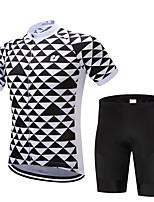 Недорогие -Муж. С короткими рукавами Велокофты и велошорты Черный Велоспорт Наборы одежды Дышащий Влагоотводящие Быстровысыхающий Анатомический дизайн Виды спорта Геометрия Горные велосипеды Шоссейные велосипеды