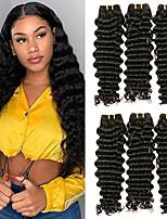 Недорогие -6 Связок Индийские волосы Крупные кудри Необработанные натуральные волосы 100% Remy Hair Weave Bundles Человека ткет Волосы Пучок волос Накладки из натуральных волос 8-28 дюймовый Естественный цвет