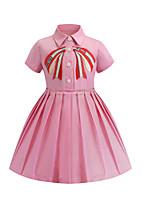 Недорогие -Дети Девочки Классический Однотонный С короткими рукавами До колена Платье Розовый / Хлопок