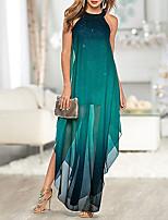 cheap -Women's Maxi long Dress - Sleeveless Color Block Split Elegant Cocktail Party Prom Birthday Green M L XL XXL XXXL