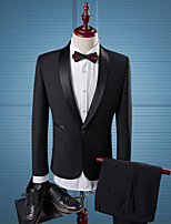 cheap -Tuxedos Tailored Fit / Standard Fit Shawl Collar Single Breasted One-button Cotton Blend / Cotton / Polyester Solid Color