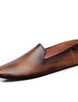 Недорогие -Муж. Комфортная обувь Кожа Весна лето Деловые / На каждый день Мокасины и Свитер Нескользкий Черный / Коричневый / Серый / Офис и карьера