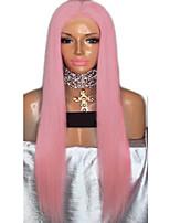 Недорогие -Парики из искусственных волос Естественный прямой Стиль Стрижка каскад Без шапочки-основы Парик Розовый Розовый / Фиолетовый Искусственные волосы 72~76 дюймовый Жен. Новое поступление Розовый Парик