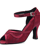Недорогие -Жен. Кружева Обувь для латины Кружева На каблуках Кубинский каблук Персонализируемая Темно-красный