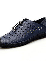 cheap -Men's Fall / Spring & Summer Casual / British Daily Party & Evening Oxfords Walking Shoes Cowhide Breathable Non-slipping Wear Proof White / Black / Yellow