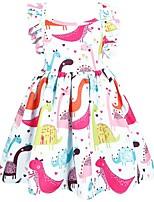 Недорогие -Дети Дети (1-4 лет) Девочки Активный Уличный стиль Мультипликация С короткими рукавами Выше колена Платье Белый