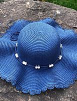 Недорогие -Жен. Активный Классический Симпатичные Стиль Соломенная шляпа Шляпа от солнца Солома,Контрастных цветов Лето Осень Розовый Темно синий Хаки