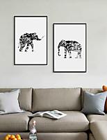 Недорогие -Отпечаток в раме Набор в раме - Абстракция Животные Полистирен Иллюстрации Предметы искусства