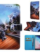 Недорогие -Кейс для Назначение SSamsung Galaxy S9 / S9 Plus / S8 Plus Кошелек / Бумажник для карт / со стендом Чехол Кот Твердый Кожа PU