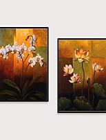 Недорогие -Отпечаток в раме Набор в раме - Абстракция Цветочные мотивы / ботанический Полистирен Масляные картины Предметы искусства