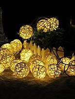 Недорогие -5 м 40 светодиодные шары из ротанга светодиодные струнные фонари батареи гирлянды ватный шарик свет цепи гирлянда lumineuse праздник рождественские огни шары