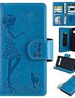 Недорогие -Кейс для Назначение SSamsung Galaxy S9 / S9 Plus / S8 Plus Кошелек / Бумажник для карт / со стендом Чехол Кот / Соблазнительная девушка Твердый Кожа PU