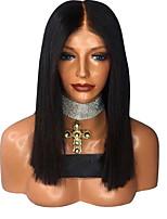 Недорогие -Парики из искусственных волос Естественный прямой Стиль Стрижка каскад Без шапочки-основы Парик Черный Черный Искусственные волосы 42~46 дюймовый Жен. Новое поступление Черный Парик Средняя длина
