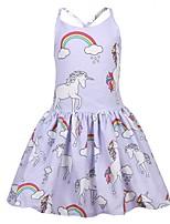 Недорогие -Дети Дети (1-4 лет) Девочки Активный Уличный стиль Unicorn Мультипликация Без рукавов Выше колена Платье Синий