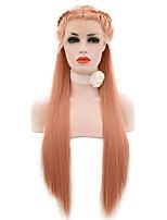Недорогие -Парики из натуральных волос на кружевной основе переплетенный Стиль Средняя часть Лента спереди Парик Омбре Оранжевый Искусственные волосы 26 дюймовый Жен. Женский Омбре Парик Длинные