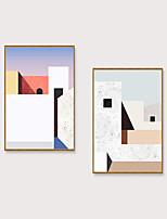 Недорогие -Отпечаток в раме Набор в раме - Абстракция Пейзаж Полистирен Иллюстрации Предметы искусства