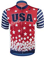 Недорогие -21Grams Американский / США Звезды Муж. С короткими рукавами Велокофты - Красный + синий Велоспорт Джерси Верхняя часть Дышащий Влагоотводящие Быстровысыхающий Виды спорта Терилен / Слабоэластичная