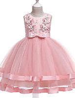 Недорогие -Дети Девочки Милая Симпатичные Стиль Цветочный принт Бусины Бант Без рукавов Средней длины Платье Розовый