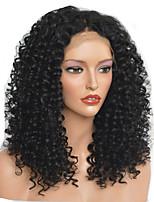 Недорогие -Парики из искусственных волос Афро Квинки Стиль Стрижка каскад Без шапочки-основы Парик Черный Черный Искусственные волосы 40~44 дюймовый Жен. Новое поступление Черный Парик Средняя длина