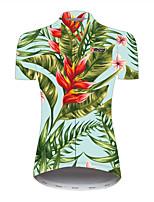 Недорогие -21Grams Цветочные ботанический Гавайи Жен. С короткими рукавами Велокофты - Розовый + зеленый Велоспорт Джерси Верхняя часть Дышащий Быстровысыхающий Со светоотражающими полосками Виды спорта 100