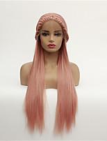 Недорогие -Синтетические кружевные передние парики Прямой Стиль Свободная часть Лента спереди Парик Розовый Розовый + Красный Искусственные волосы 8-26 дюймовый Жен. синтетический Розовый Парик Средняя длина