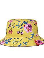 Недорогие -Жен. Классический Широкополая шляпа Полиэстер,Цветочный принт Белый Черный Желтый