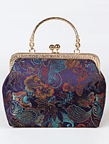 cheap -Women's Embroidery Polyester Evening Bag Floral Print Black / Black Grey / Purple