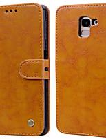 Недорогие -Кейс для Назначение SSamsung Galaxy J6 (2018) Бумажник для карт / Флип Чехол Однотонный Твердый Кожа PU
