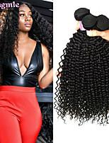 Недорогие -4 Связки Бразильские волосы Kinky Curly Необработанные натуральные волосы Человека ткет Волосы Пучок волос Накладки из натуральных волос 8-28 дюймовый Естественный цвет Ткет человеческих волос