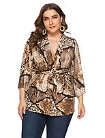 Недорогие -Жен. Большие размеры - Блуза V-образный вырез Свободный силуэт Животное Коричневый