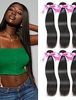 Недорогие -6 Связок Малазийские волосы Прямой Необработанные натуральные волосы 100% Remy Hair Weave Bundles Человека ткет Волосы Пучок волос Накладки из натуральных волос 8-28 дюймовый Естественный цвет