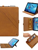 cheap -Case For Huawei Huawei Mediapad T5 10 / Huawei MediaPad M5 10 Wallet / Card Holder / with Stand Full Body Cases Solid Colored PU Leather