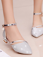 cheap -Women's Sandals Block Heel Pointed Toe PU Casual Walking Shoes Spring & Summer Gold / Silver / Wedding