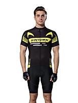 Недорогие -XINTOWN Муж. С короткими рукавами Велокофты и велошорты Черный / желтый Велоспорт Дышащий Виды спорта Эластан Однотонный Горные велосипеды Шоссейные велосипеды Одежда / Эластичная