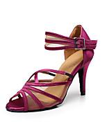Недорогие -Жен. Танцевальная обувь Сатин Обувь для латины Планка На каблуках Тонкий высокий каблук Персонализируемая Лиловый / Выступление