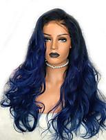 Недорогие -Парики из искусственных волос Естественные кудри Стиль Стрижка каскад Без шапочки-основы Парик Синий Черный / синий Искусственные волосы 58~62 дюймовый Жен. Новое поступление Синий Парик Очень длинный