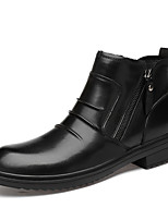 Недорогие -Муж. Армейские ботинки Наппа Leather Зима Деловые / Английский Ботинки Сохраняет тепло Черный